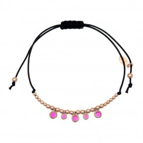 Bracelet silver 925 pink gold plated & with zirconia with cord - Chromata