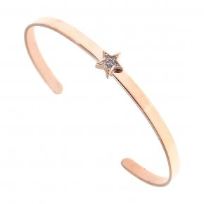 Bracelet silver 925 pink gold plated & with white zirconia - Aura