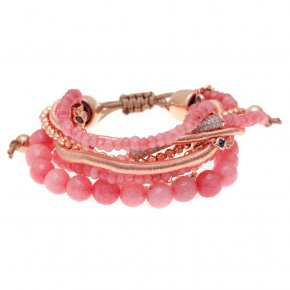 Bracelet metal pink gold plated & with synthetic stones and colored zirconia with cord - Amazona