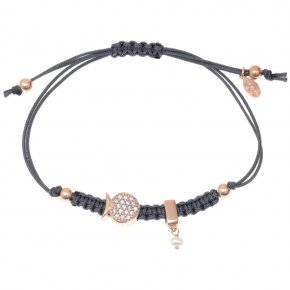 Bracelet silver 925 pink gold plated & with white zirconia with cord - Filia