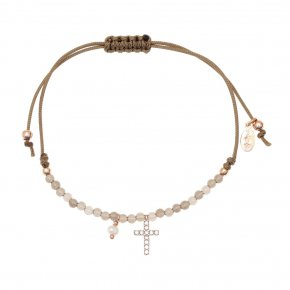 Bracelet silver 925 pink gold plated & with fresh water pearl and smokie quartz with cord - Sirens