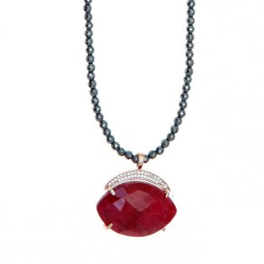 Necklace silver 925 pink gold plated & with hematite, treated ruby and white zirconia - Nymfes