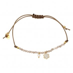 Bracelet silver 925 gold plated & with smokie quartz with cord - Sirens