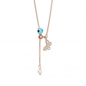 Necklace silver 925 pink gold plated & with fresh water pearl, white zirconia and evil eye - Sirens