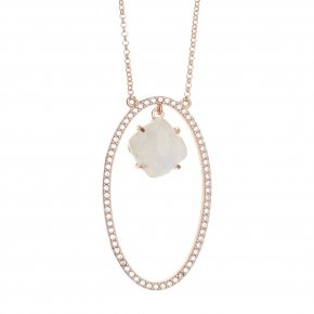 Necklace silver 925 pink gold plated & with moonstone and white zirconia - Nymfes