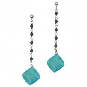 Earrings silver 925 rhodium plated & with hematite and turqoise - Chroma