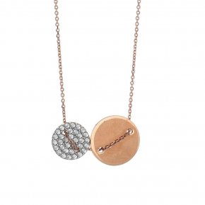 Necklace silver 925 rose gold plated with white zirconia - LAMPSIS