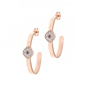 Earrings silver 925 pink gold plated & with white zirconia - Aura