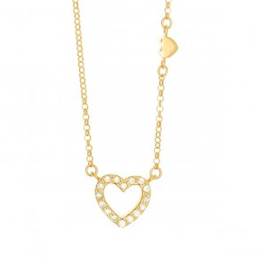 Chain necklace silver 925, pink gold plated, heart shaped motif with white zirconium - Simply Me