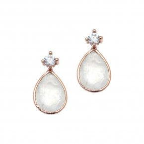 Earrings silver 925, pink gold plated with moonstone - Petra