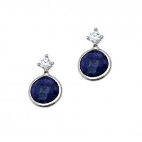 Earrings silver 925 rhodium plated with gems and synth.stones - Petra