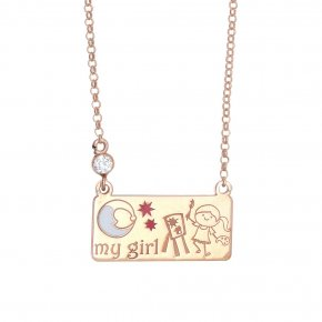 Necklace silver 925 pink gold plated & with enamel and white zircon - Genesis Jewellery