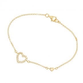 Chain bracelet silver 925, pink gold plated, heart shaped motif with white zirconium - Simply Me