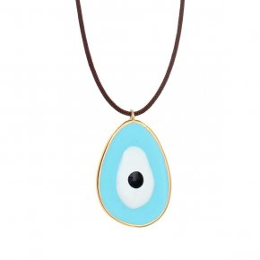 Necklace silver 925 gold plated & with enamel evil eye  with cord - Wish Luck