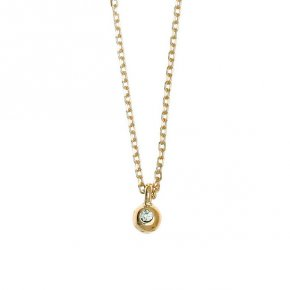 Necklace in silver 925 yellow gold plated with white zirconia - Amalthia