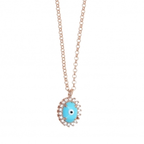 Necklace silver 925 pink gold plated & with enamel evil eye and white zircon - Genesis Jewellery