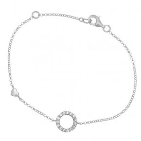Chain bracelet silver 925, pink gold plated, round shaped motif with white zirconium - Simply Me