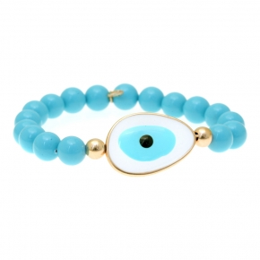 Bracelet silver 925 gold plated & with enamel evil eye - Mati