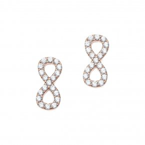 Earrings silver 925 pink gold plated with synthetic stones - Simply Me