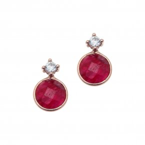 Earrings silver 925, pink gold plated with ruby - Petra