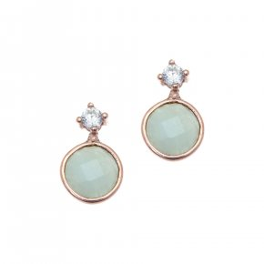 Earrings silver 925, pink gold plated with amazonite - Petra