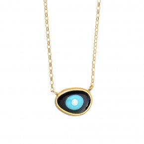 Necklace silver 925 gold plated & with enamel evil eye - Mati