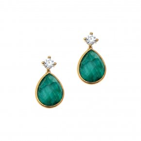 Earrings silver 925 gold plated with gems and synth.stones - Petra