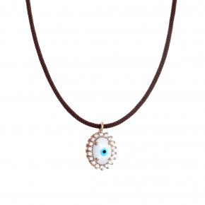 Necklace silver 925 pink gold plated & with enamel evil eye and white zircon with cord - Genesis Jewellery
