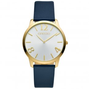 GREGIO Watch Simply Rose Gold Blue Leather Strap GR112073 - Simply Rose