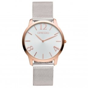 GREGIO Watch Simply Rose Milanese Silver Strap GR112039 - Simply Rose