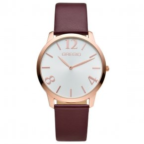 GREGIO Watch Simply Rose Gold Marsala II Leather Strap GR112080 - Simply Rose