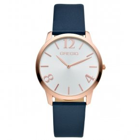GREGIO Watch Simply Rose Gold Blue Leather Strap GR112089 - Simply Rose