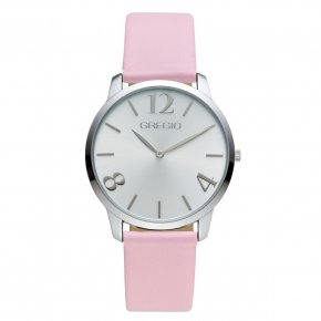GREGIO Watch Simply Rose Pink Leather Strap GR112062 - Simply Rose