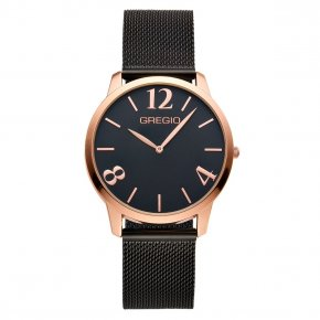GREGIO Watch Simply Rose Milanese Black Strap GR112038 - Simply Rose