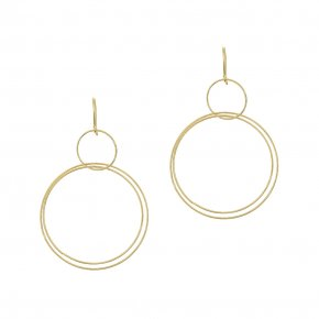 Earrings in silver 925 yellow gold plated (7cm total lenght, circle size 4 cm) - Outopia