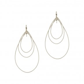 Earrings in silver 925 rhodium plated (8cm total lenght, drop size 6 cm x 4 cm) - Funky Metal