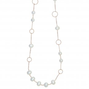 Necklace silver 925 pink gold plated with pearls - Pearls
