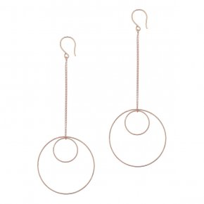 Earrings in silver 925 pink gold plated (10cm total lenght, circle size 4 cm) - Outopia