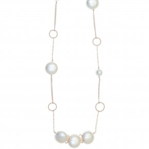 Necklace silver 925 pink gold plated with shell pearls - Pearls