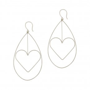 Earrings in silver 925 rhodium plated (7cm total lenght, drop size 6 cm x 4 cm) - Outopia