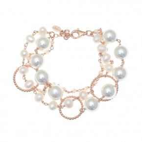 Bracelet silver 925 pink gold plated with pearls - Color Me
