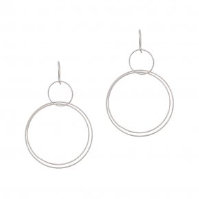 Earrings in silver 925 rhodium plated (7cm total lenght, circle size 4 cm) - Funky Metal