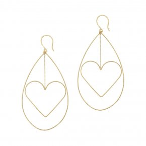 Earrings in silver 925 yellow gold plated (7cm total lenght, drop size 6 cm x 4 cm) - Funky Metal