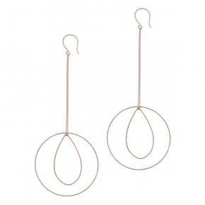 Earrings in silver 925 rhodium plated (10.5cm total lenght, circle size 4 cm) - Outopia