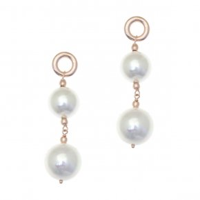 Earrings silver 925 pink gold plated with pearls - Pearls