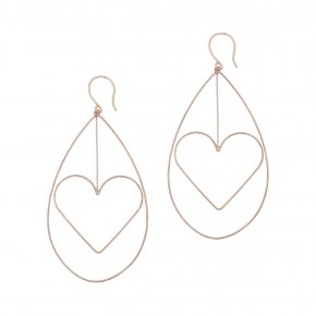 Earrings in silver 925 pink gold plated (7cm total lenght, drop size 6 cm x 4 cm) - Funky Metal