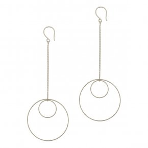 Earrings in silver 925 rhodium plated (10cm total lenght, circle size 4 cm) - Outopia