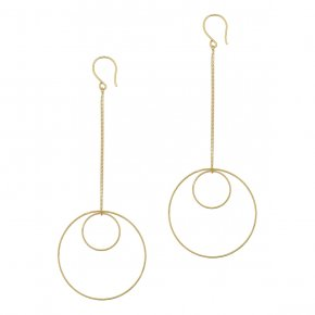 Earrings in silver 925 yellow gold plated (10cm total lenght, circle size 4 cm) - Funky Metal
