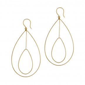 Earrings in silver 925 yellow gold plated (7cm total lenght, drop size 6 cm x 4 cm) - Outopia