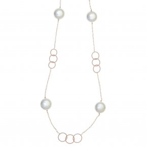 Necklace 925 pink gold plated with pearls - Pearls